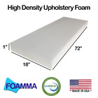 """Foamma 1-6""""x18""""x72"""" Upholstery Foam, High Density, New Cusion Replacement"""