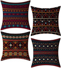 FeelAtHome Throw Pillow Covers Cases 18 x 18 Inches Set of 4 (Boho Accent) - Coz