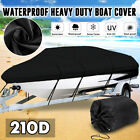 US Heavy Duty Trailerable Boat Cover V-Hull Speedboat Waterproof Protector 210D image