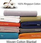 Cotton Bed Blanket -100 Ring spun Woven Waffle Small Honeycomb Twin/Queen/King