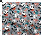 Halloween Vintage Rero Owl Witch Moon Bats Fabric Printed by Spoonflower BTY