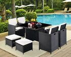 Outdoor Rattan Cube Set 4 Chair High Back & Stool Garden Conservatory Furniture