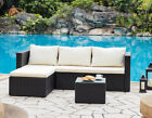 Rattan Corner Sofa Garden Set 3pc Lounge Table Outdoor Furniture Optional Cover