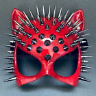 Red cat woman mask with Spikes Birthday Dress up Halloween Sexy Steampunk Party
