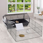 Metal Rabbit Hutch Cage Small Animal Shed with Main House W/ wheels