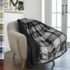Plaid Throw Blanket for Couch Sofa Bed Sherpa Fleece Soft Microfiber Reversible