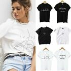 New Women Ladies Short Sleeve T Shirt Tops Blouse Heart Printed Casual Tee US