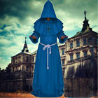 Cosplay Men Halloween Medieval Monk Hooded Robes Cloak Cape Friar Priest Costume