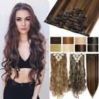 US 8 Pieces Clip In Hair Extensions Full Head Natural As Human Real Long Wavy GH