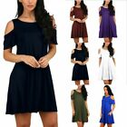 Women's Summer Cold Shoulder Sundress Tunic Top Swing T Shirt Loose Dress Pocket
