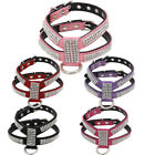Durable Safe Strong Adjustable PU Leather Dog Harness Shinny Sparkle Diamonds