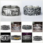 Men's Handmade 925 Silver Animal Band Ring Women Wedding Party Jewelry Size 5-13