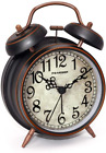 Peakeep Retro 4 inches Battery Operated Twin Bell Loud Alarm Clock (Black with A