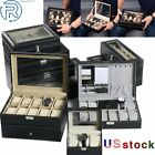 3/6/10/12/20/24/8+2/6+3 Slots Men Watch Box Glass Storage Leather Display Case