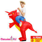 Mens Inflatable Dinosaur Rider Costume Red T-Rex Zoo Ride Carry On Me Blow Up