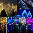 96-960LED 13-130FT Hanging Icicle Snow Curtain Outdoor Indoor Xmas String Light