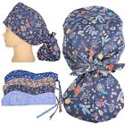 Scrub Cap Women's with Long Hair Ponytail Pocket Surgical Hat with Buttons New