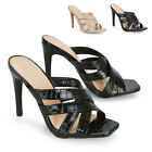 New Womens High Heel Mule Shoes Ladies Strappy Peep Toe Party Sandals Size