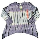 Fast shipping Green Tea blue and purple Shirt Tie Dye NWT Over Size Top Womens