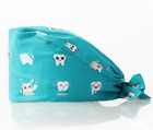 Dentistry Scrub Cap Surgical Hat Unisex w Buttons Ear Saver Tooth Print Dentist