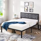 Sturdy Metal Bed Frame w/Country Rustic/Rustic Brown /Modern Platform Headboard