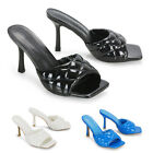 Womens Quilted Sandals Slide On Square Toe Padded Heeled Mules Size 3-8