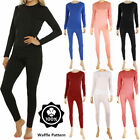 Kyпить Womens 100% Cotton Top & Bottom 2PC Set Waffle Knit Thermal Long Johns Underwear на еВаy.соm
