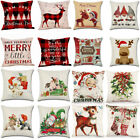 "4pcs 18"" Xmas Christmas Pillow Case Cushion Cover Flax Waist Throw Sofa Decor Us"