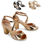 Womens Strappy Sandals Block Mid Low Heel Ladies Party Shoes Size 3-8
