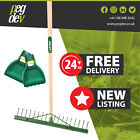 18 TOOTH METAL LANDSCAPE RAKE WITH GRADING BAR - With Leaf Scoop Grab Hands