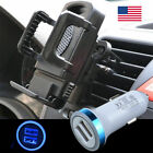 US Car Air Vent Phone Mount Holder Stand Clamp&Dual USB LED Car Charging Charger