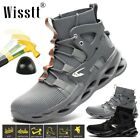 Wisstt Mens Steel Toe Army Work Boots Safety Shoes High Top Lightweight Sneakers