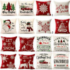"4 Pack 18"" Christmas Pillow Case Cushion Cover Xmas Flax Cotton Sofa Home Decor"