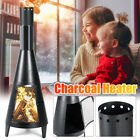 Outdoor Garden Vertical Charcoal Grill with Chimney  BBQ Chiminea Fire Pit UK