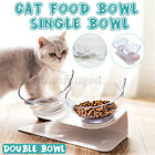 Double Cat Food Bowl w/ Raised Stand Pet Dog Water Feeding Station 15° Tilt Dish