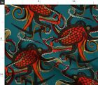 Tattoo Steampunk Octopus Sharon Turner Ocean Spoonflower Fabric by the Yard