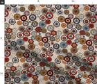 Clocks Time Cogs Steampunk Circles Time Flies Red Spoonflower Fabric by the Yard