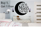 ~*~ 2 I LOVE YOU TO THE MOON AND BACK Round Vinyl Wall Decal Sticker CUSTOM