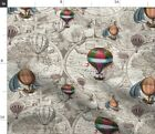 Vintage Retro Balloons World Map Steampunk Hot Spoonflower Fabric by the Yard