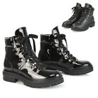 Womens Black Combat Ankle Boots Ladies Lace Up Military Army Biker Booties Size