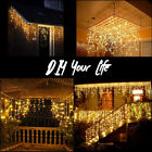 96LED Fairy Icicle Curtain Light Party Indoor Outdoor Xmas Home Lamp Warm White