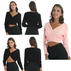 Womens Girls Classic Long Sleeve Front Knot Knit Wrap Top Ballet Dance Cardigan