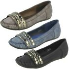 Ladies Spot On Moccasin Style Flat 'Shoes'