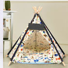 Folding Pet Teepee Tent Bed Cat Kitten Dog Puppy Igloo Play Tipi House W/Cushion