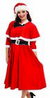 Womens Mrs Miss Santa Caped Fancy Dress Costume S - XXL for Christmas Xmas Party