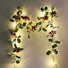 2M 20 LED Light Red Fruit Leaves Garland Hanging Halloween Merry B4Y2