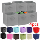 4X Collapsible Foldable Cloth Fabric Cube Storage Boxes Bins Baskets for Shelves