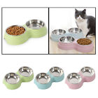 Double Small Twin Cat Puppy Bowls Water Food Easy To Clean Creative Bowl