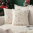 MIULEE Christmas Pack of 2 Decorative Throw Pillow Covers Plush Faux Fur with Go