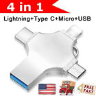1TB 256GB USB 3.0 Flash Drive Memory Stick Type C 4in1 For iPhone OTG Android PC